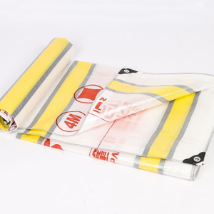 100% Virgin Pe Material Logo Printed Waterproof Color Stripes Tarpaulin for Cover